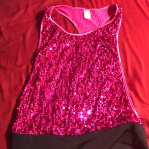 Sparkly pink dance tank top